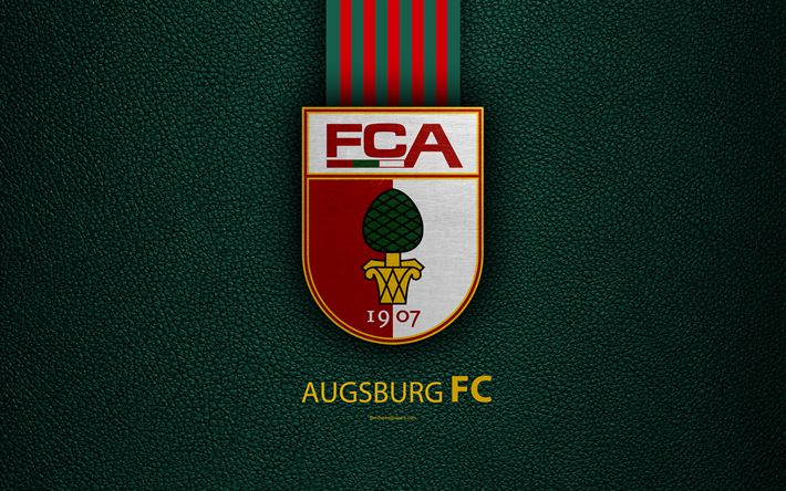 Download wallpapers Augsburg FC, 4k, German football club, Bundesliga, leather texture, emblem, logo, Augsburg, Bavaria, Germany, German Football Championships
