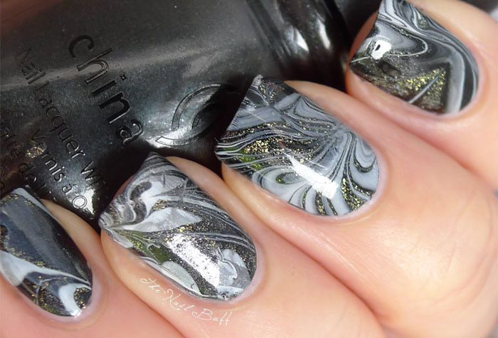 Water Marbling.Nails Art, Makeupnail Ideas, White Challenges, Black White, Nails Buff, Art Awesome, White Water, Water Marbles, Awesome Water