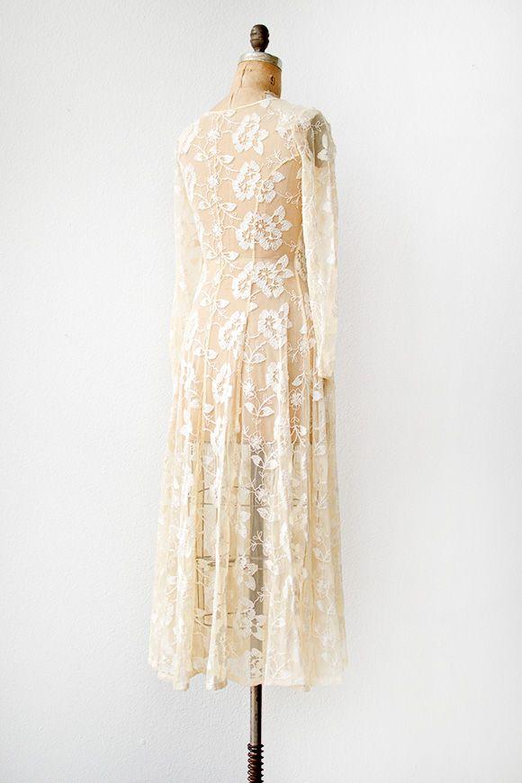 vintage 1970s sheer embroidered boho wedding dress