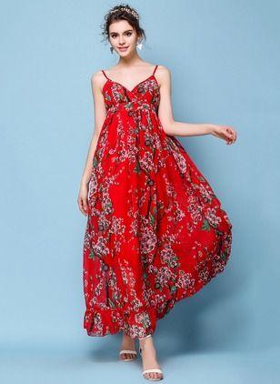 Chiffon Floral Sleeveless Maxi Casual Dresses (1013480) @ floryday.com