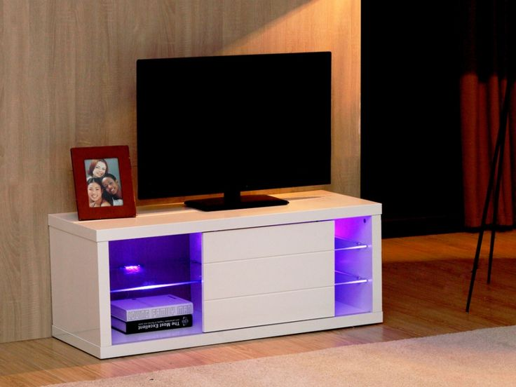 Meuble TV AMALRIC - MDF laqué blanc - LEDs - 1 porte coulissante