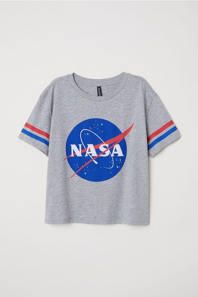 dd2b5c974 Wide-cut T-shirt - Gray melange NASA - Ladies