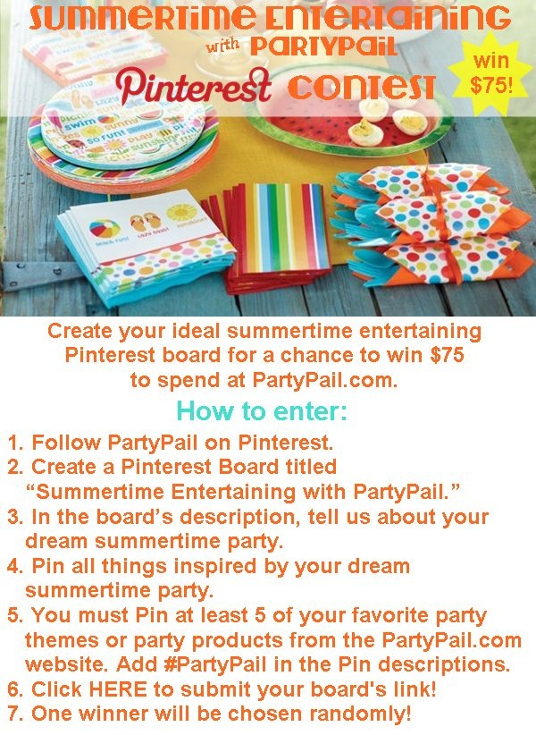 Celebrate #summer with PartyPail's summer Pinterest #contest ~ (Entry form and official rules: http://site.partypail.com/blog/2013/05/23/pinterest-contest-summertime-entertaining-with-partypail/)