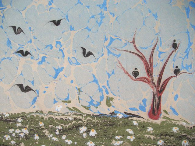 Ebru Art - Birds and flowers