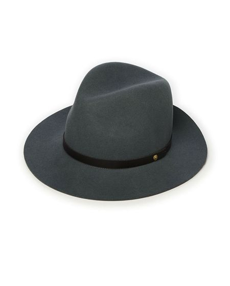 """Classic fedora style hat with a wide brim and a thin contrast leather band. Made with 100% Wool. Band Made with 100% Leather. Made in USA.Circumference measurements:S - 6 7/8""""M - 7 1/8""""L - 7 3/8""""**Please note there are no returns / exchanges on this item."""