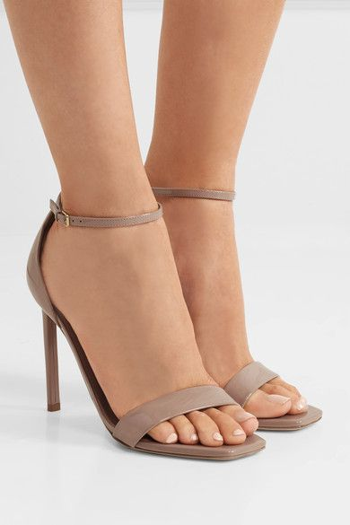 Heel measures approximately 105mm/ 4 inches Beige patent-leather  Buckle-fastening ankle strap  Come with dust bag Made in Italy