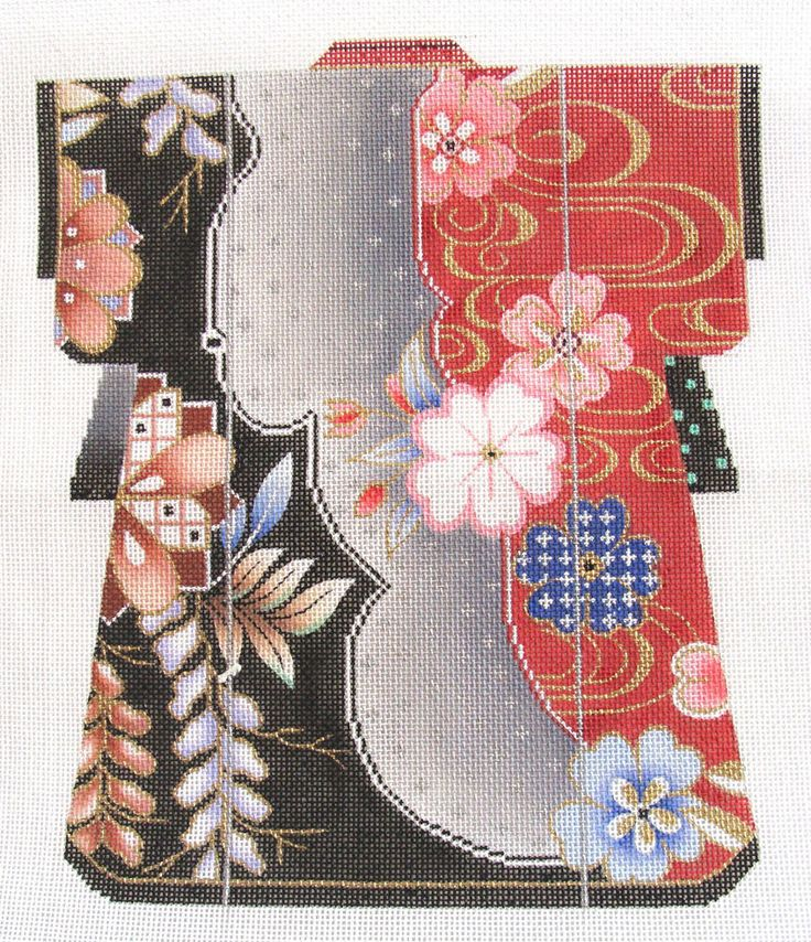 SOPHIA HP NEEDLEPOINT CANVAS: ASIAN ORIENTAL KIMONO BLACK/RED W/ FLOWERS BM