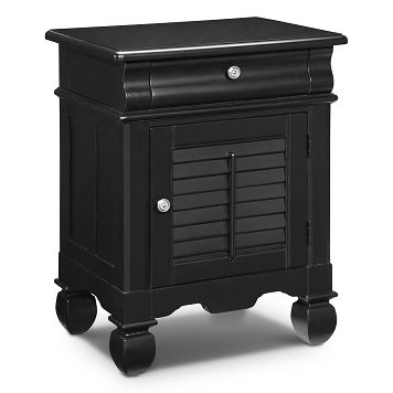 American Signature Furniture - Plantation Cove Black Bedroom Door Nightstand $229.99