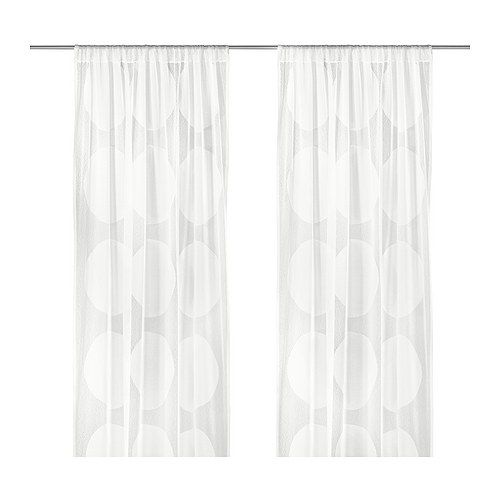 NINNI TRÅD Pair of curtains IKEA The curtains let the daylight through but provide privacy so they are perfect to use in a layered window solution. These are gorgeous in person. For over the cloud blind.