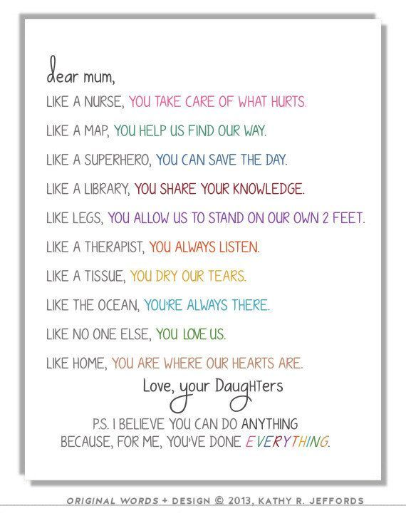 Personalized Gift For Mom From Daughter To By Thedreamygiraffe Mom Poems Mom Quotes Birthday Cards For Mom