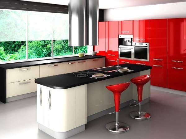 Угловая кухня белого, красного и черного цвета