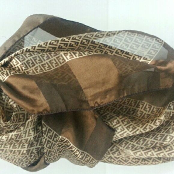 Fendi Scarf Brown Fendi scarf 40 x 40.  The scarf does not have any tags. FENDI Accessories Scarves & Wraps