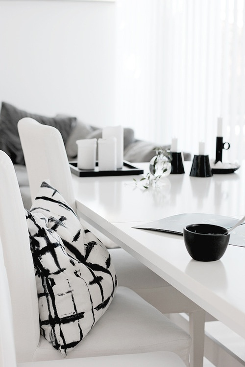 dining room - black and white