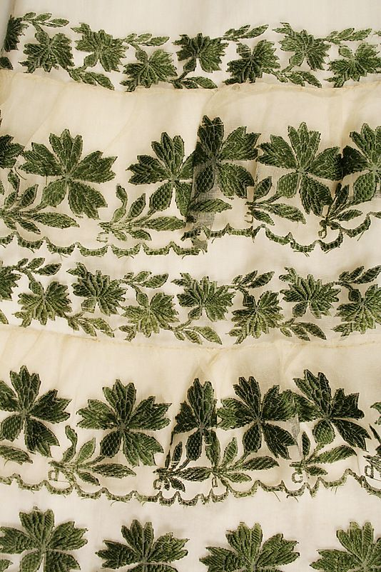 1810 Detail of Elaborately embroidered hem of Silk Dress. metmuseum.org