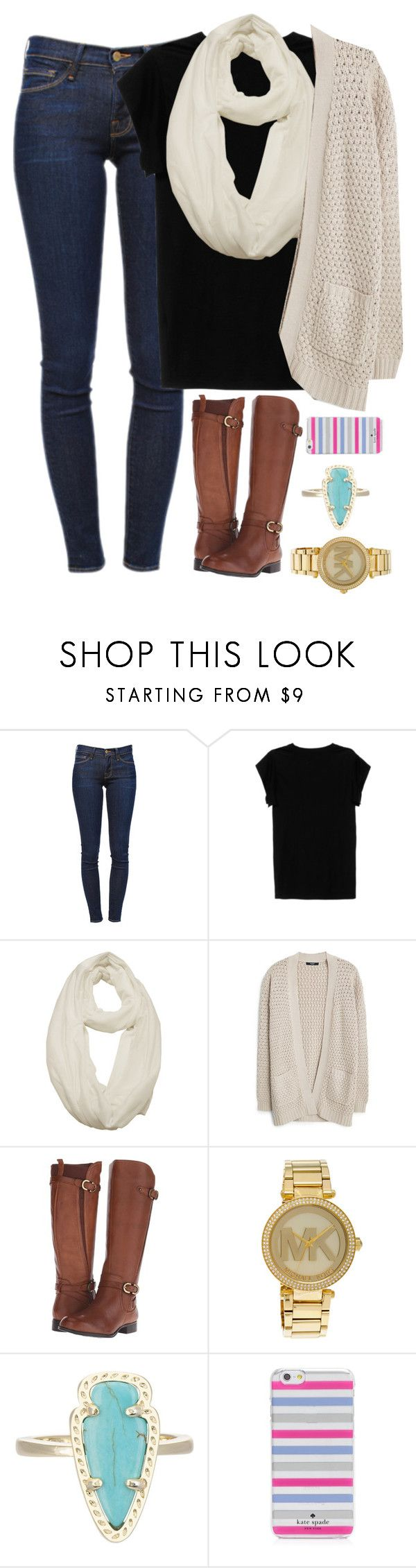 """Untitled #639"" by evieleet ❤ liked on Polyvore featuring Frame Denim, Isabel Marant, MANGO, Naturalizer, Michael Kors, Kendra Scott and Kate Spade"