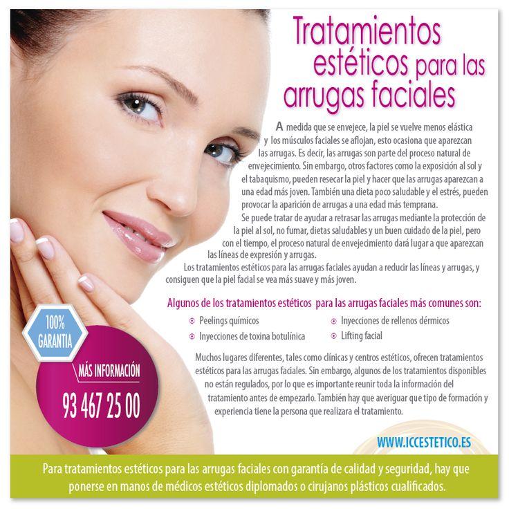TRATAMIENTOS ESTÉTICOS PARA LAS ARRUGAS FACIALES A medida que se envejece, la piel se vuelve menos elástica y los músculos se aflojan, esto ocasiona que aparezcan las arrugas... http://www.iccestetico.es/tratamientos-esteticos-para-las-arrugas-faciales/