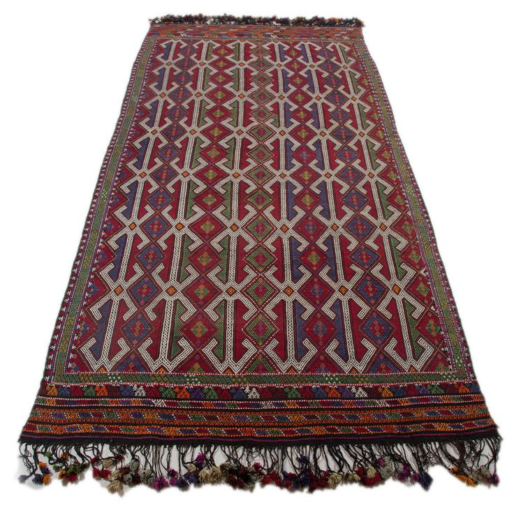 Turkish Kilim Rug Hand Woven Braided Natural Wool and dyes Rug 5′11″ x 11′8″ #Turkish