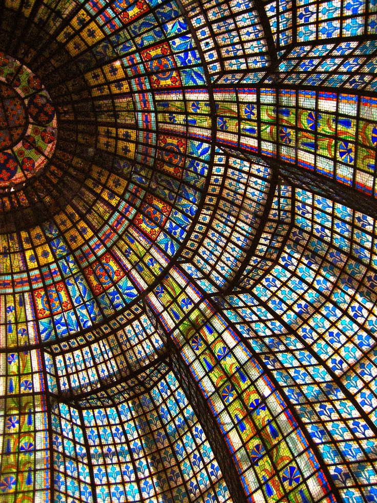 Art Noveau stained glass cupola in the tearoom, Printemps department store, Paris, France.