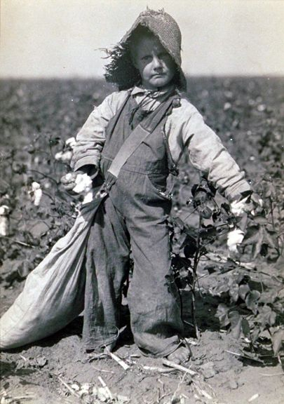 Child cotton picker, photo by Lewis W. Hine Before the 1940s, most farmers did not own land, but worked as sharecroppers. The whole family was essential to help with the harvest, and poor families took on extra work. Everyone pitched in, because survival depended on it.