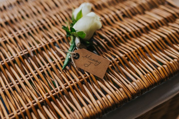 Ask your florist to label your buttonholes and corsages, it makes life a whole lot easier! Photo by Benjamin Stuart Photography #weddingphotography #buttonhole #labelling #weddingflowers #whiterose