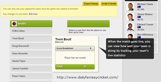 Favourite offers you Indian Premier League (IPL) Cricket live scores, Indian Premier League (IPL) Cricket comment and game updates. You'll even be ready to follow and replica skilled Indian Premier League (IPL) Cricket bettors to boost your card-playing in Online Fantasy Cricket.  For more info visit http://www.dailyfantasycricket.com/