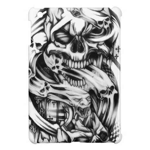 Evil skull tattoo style art. Sin and smoke skulls. iPad Mini Cases 悪の頭蓋骨の入れ墨のスタイルアート。罪と煙頭蓋骨。 iPadのミニケース