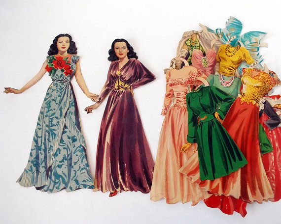 1940s Hedy Lamarr Paper Doll Cut Ephemera Plus Clothing Merrill 1942 Original Hollywood Starlet Film Actress Movie Costume Make Believe Toys