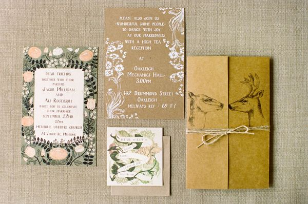 Art Deco-Meets-Handmade-Fete Wedding, Adrian Tuazon via Ruffled blog. Beautiful artistic invitation add individuality.