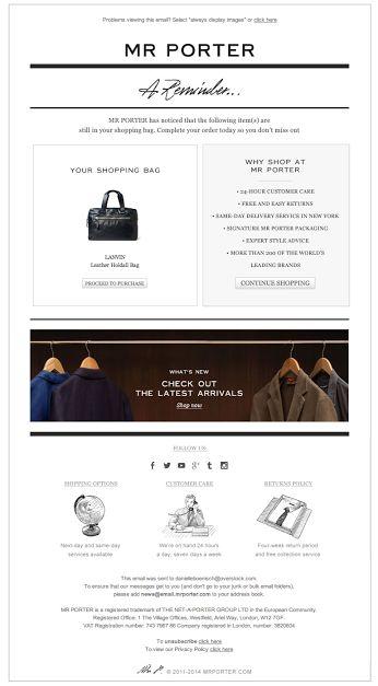 Mr. Porter abandoned cart email 3/2014