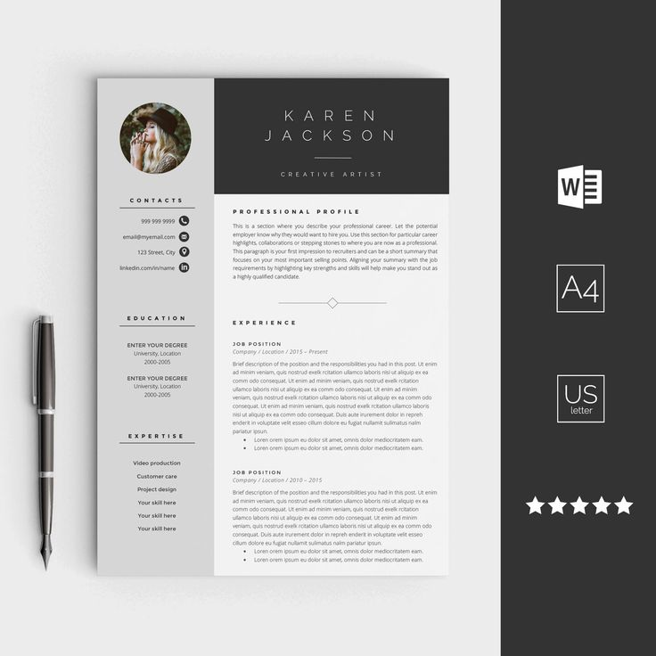 graphic design resume template%0A Creative resume template for Word  Instant download CV template  Design  with cover letter