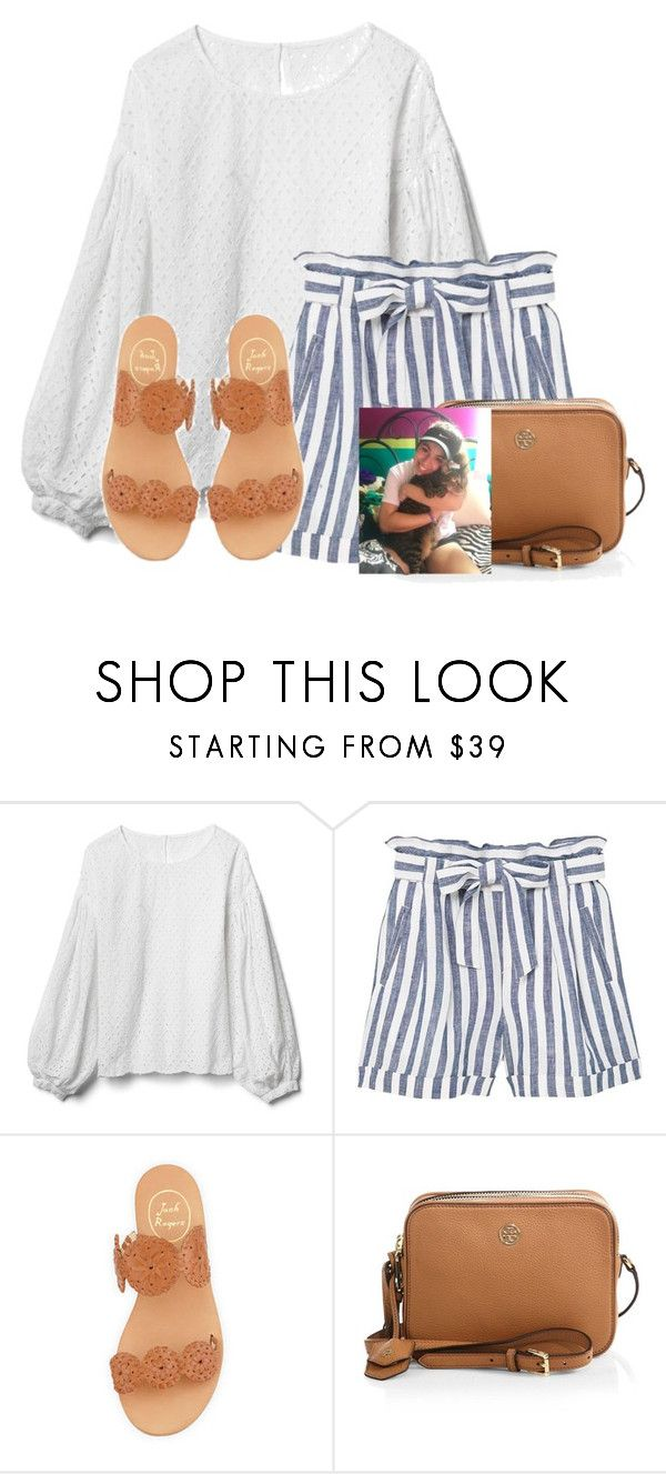 """Loved holding @auburnlady cats❤"" by flroasburn ❤ liked on Polyvore featuring Gap, MANGO, Jack Rogers and Tory Burch"