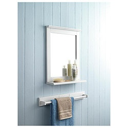 Southwold Bathroom Mirror With Shelf White Wood Tongue Groove