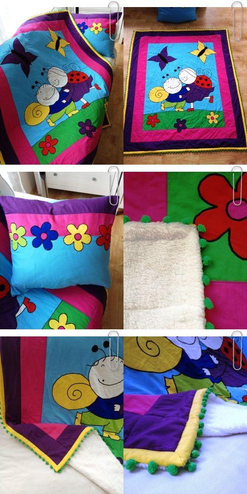 """bogyó és babóca"" - 120x140cm quilted blanket with hungarian animated cult caracters :-) Love Colors by Julianna Rencés Kovács https://www.facebook.com/LoveColorsByJuliannaRencesKovacs"