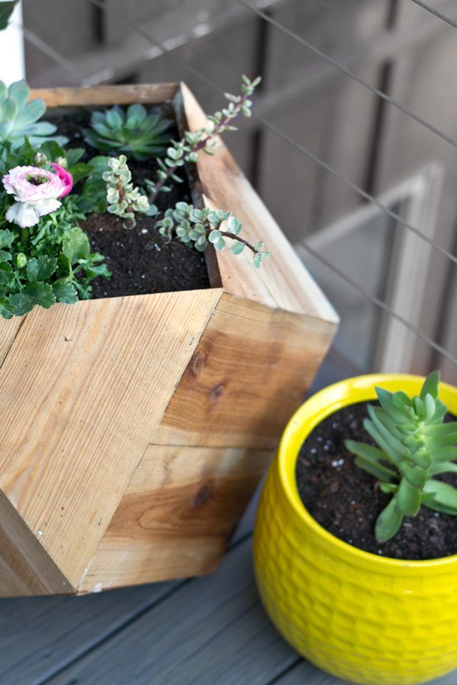 Learn how to make this geometric wood planter.