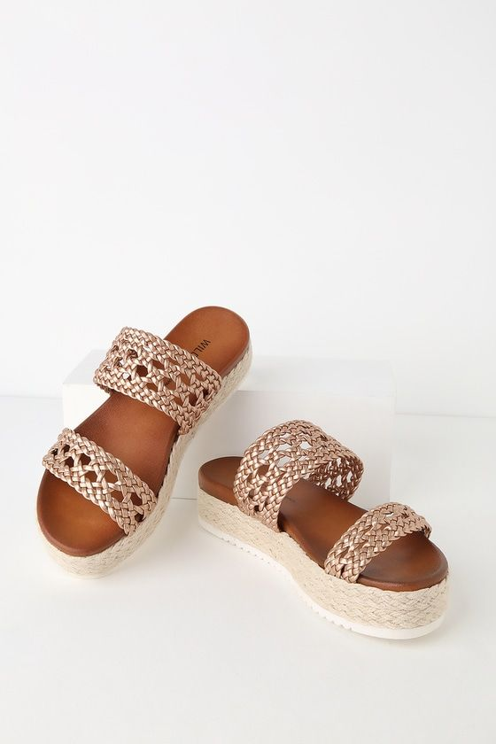 cf2afb663 You'll be whistling your whole way to work in the Oh My Mia Rose Gold  Espadrille Flatform Sandals! A cute, intricately woven, vegan leather toe  strap shapes ...