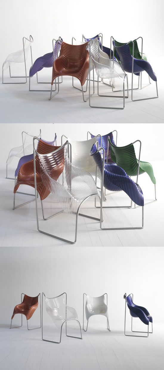 """""""Wavy chair"""" by Ron Arad. Base in stainless steel tube and shell in thermoformed ABS. The WAVY armchair is stackable."""