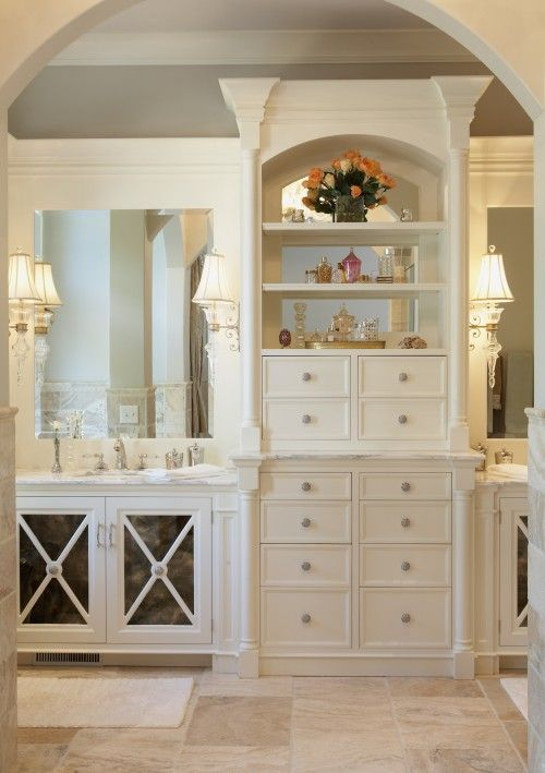 Love The Storage Between The Double Sinks