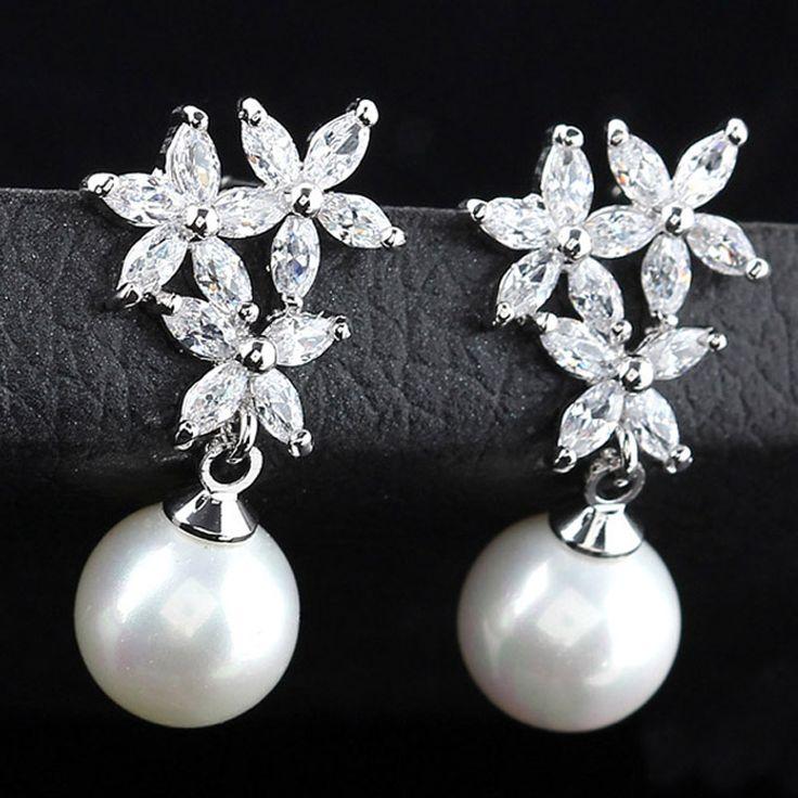 Female AAA CZ Crystal Dangle Earrings Charm Flower Pattern Pearl Long Vintage Drop Earring For Women Wedding Party Jewelry 2016