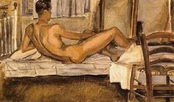 Nude lying on back, 1940 by Yannis Tsarouchis.