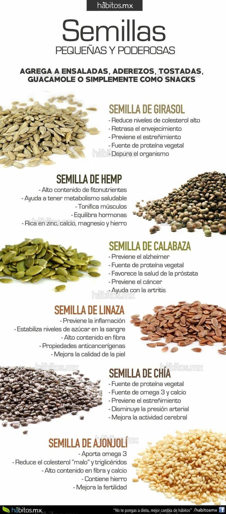 Beneficios de semillas de linaza, de girasol, de chia y más.... de hábitos.mx