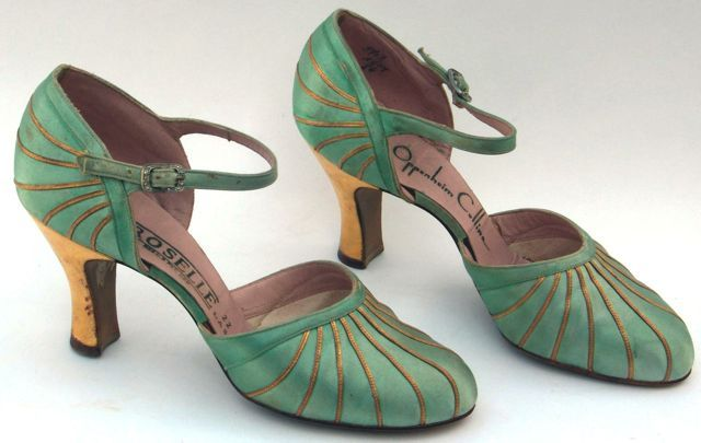 Shoes of green silk with gold leather trim, instep straps, American. Labelled Oppenheim Collins, mid 1930s