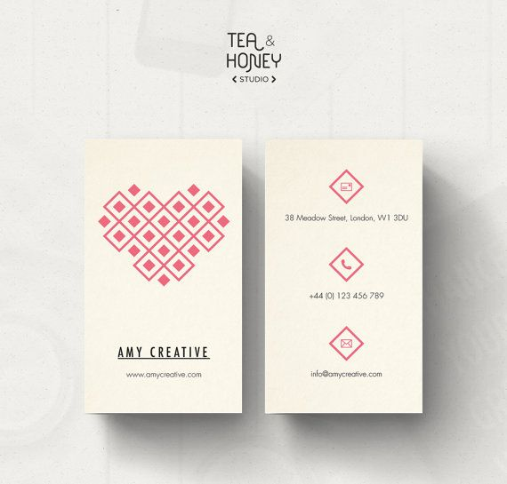 Business Card Template, Heart pattern Business Card, Unique Business Card Design, Small Business Calling Card, Geometric Pattern
