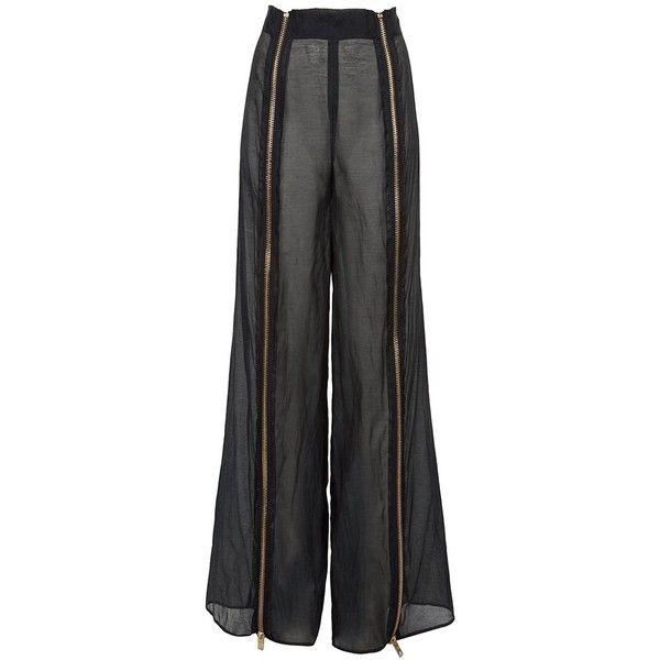 FANNY AND JESSY Zip detail trouser ($425) ❤ liked on Polyvore featuring pants, bottoms, pantalon, pantaloni, black, women, sheer pants, black wide leg pants, black wide leg trousers and black sheer pants