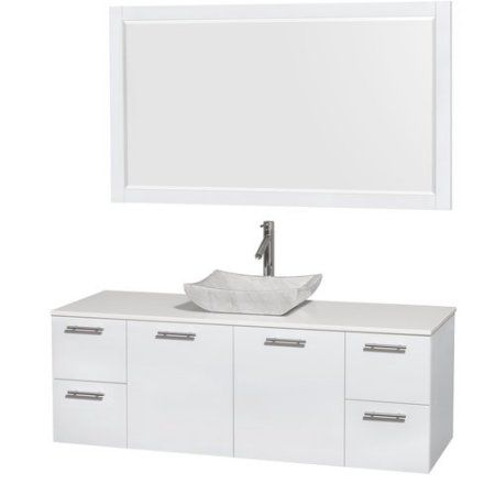 Wyndham Collection Amare 60 inch Single Bathroom Vanity in Glossy White, White Man-Made Stone Countertop, Avalon White Carrera Marble Sink, and 58 inch Mirror