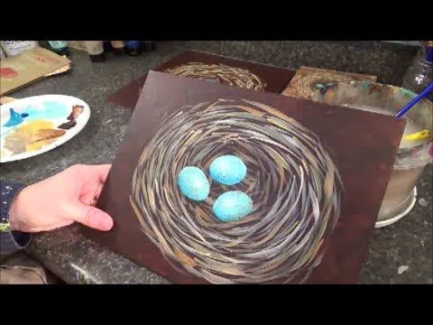 Bird Nest with Eggs Tutorial - Free Beginner Acrylic Painting Lesson by Angela Anderson