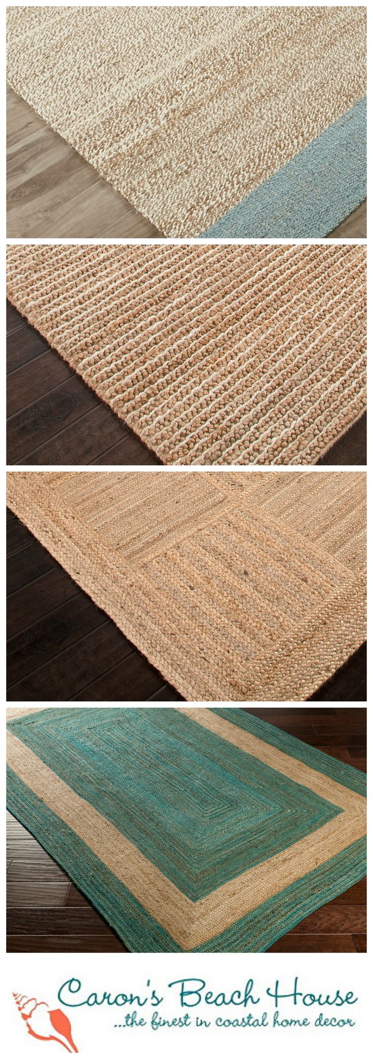 Bringing in bits of natural beauty is an essential ingredient when decorating for beach homes!  Get the look with gorgeous sea grass area rugs