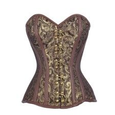 Brown and Gold Brocade Pattern Steampunk Corset
