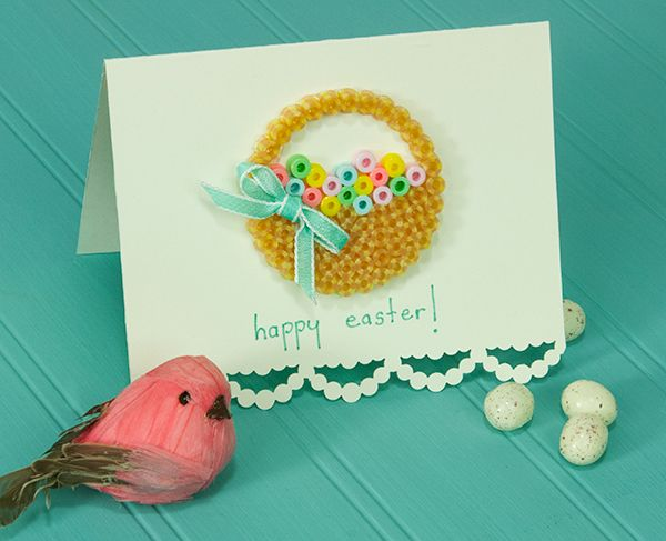 Make these colorful Easter cards for friends and relatives using a simple Perler design, a bit of ribbon, and your favorite edger punch. A great Mom and me project!