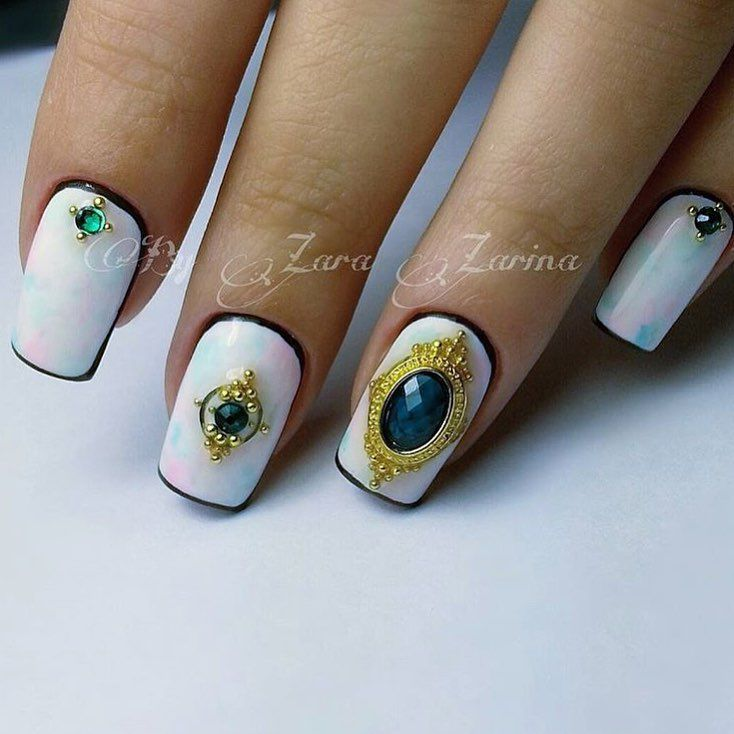 3d nails, Dimension nails, Evening dress nails, Evening nails, Exquisite nails, Festive nails, Luxury nails, Nails with gems