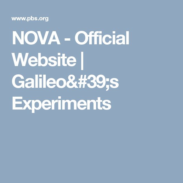 NOVA - Official Website | Galileo's Experiments